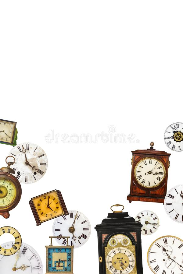 Collection of different vintage table clocks and clock faces royalty free stock photography