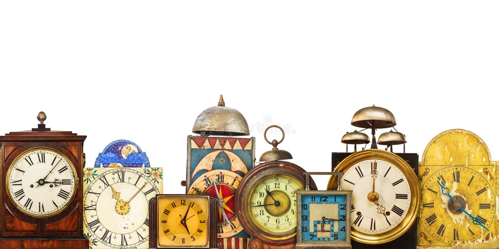 Collection of different vintage table clocks stock photos