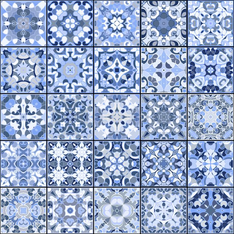Collection of different vintage tiles. A collection of ceramic tiles in blue colors. A set of square patterns in oriental style. Vector illustration royalty free illustration