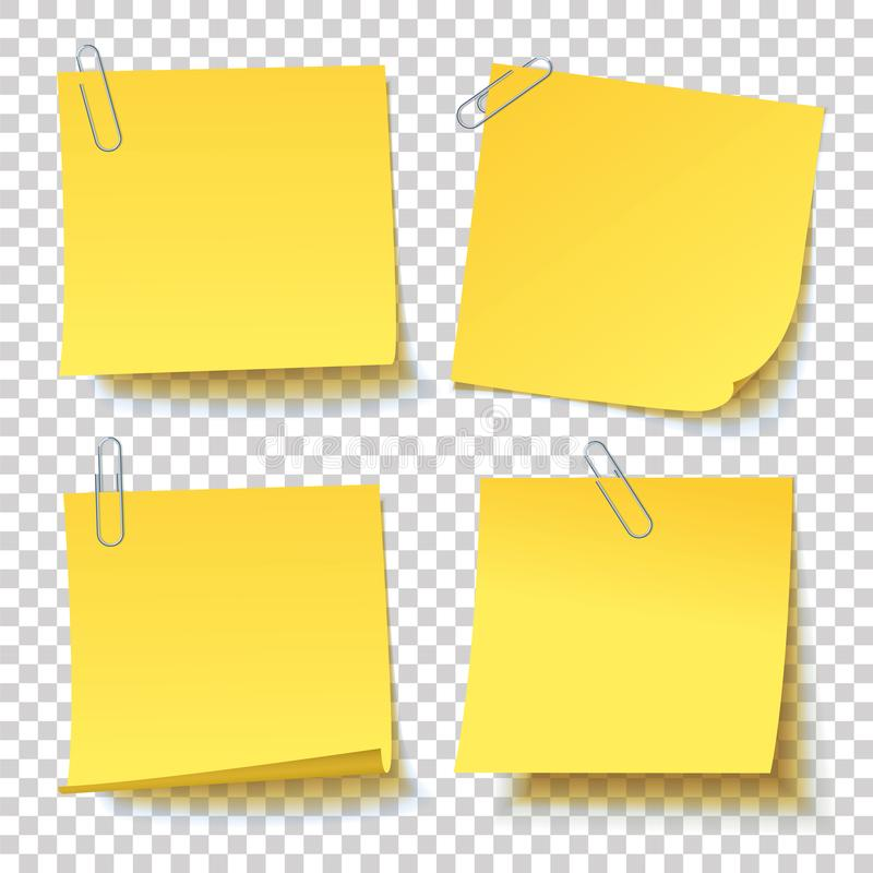 Collection of different yellow sticker with paper clip attached. Collection of different yellow sticker paper clip attached with curled corner, ready for your vector illustration