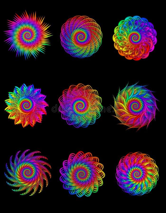 Collection Digital Art Abstract Rainbow Spiral Motifs vector illustration