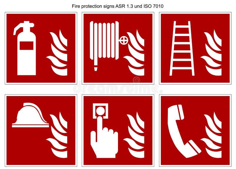 Collection DIN 7010 de vecteur de signe de lutte anti-incendie et radar de surveillance aérienne 1 3 d'isolement sur le fond blan illustration libre de droits