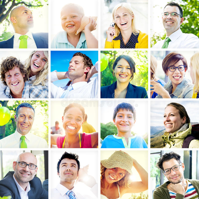 Collection of Diverse Happy People royalty free stock images