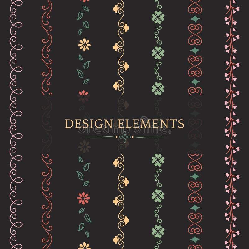 Collection of divider design element vectors stock illustration