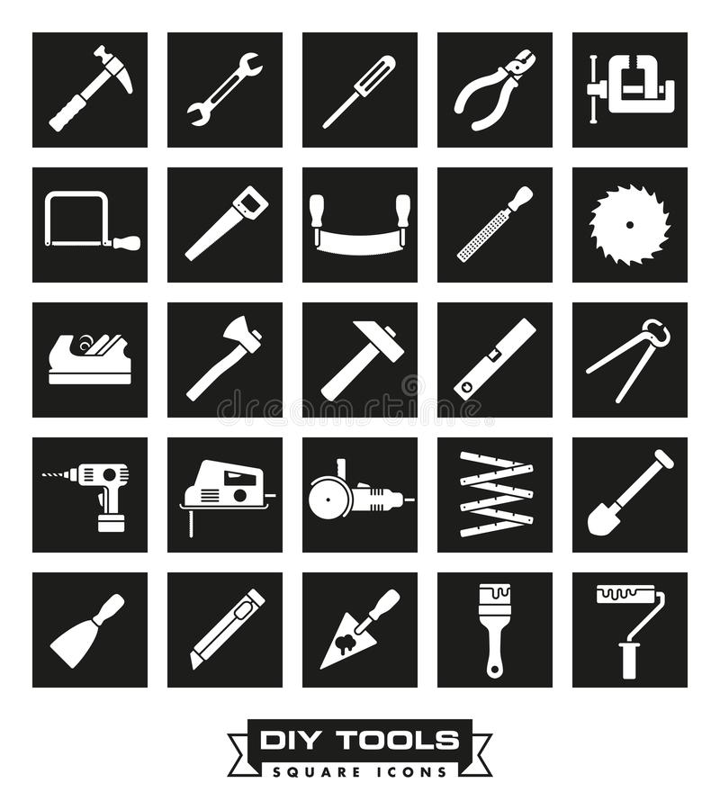 Crafting tools Square Black Icon Set. Collection of DIY and crafting tool vector icons in black squares royalty free illustration
