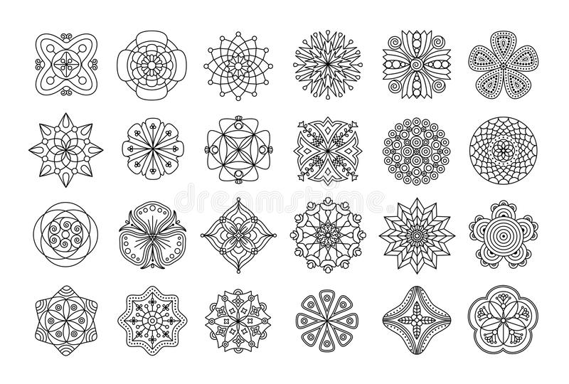 Collection of doodle floral mandala elements in black and white. stock image
