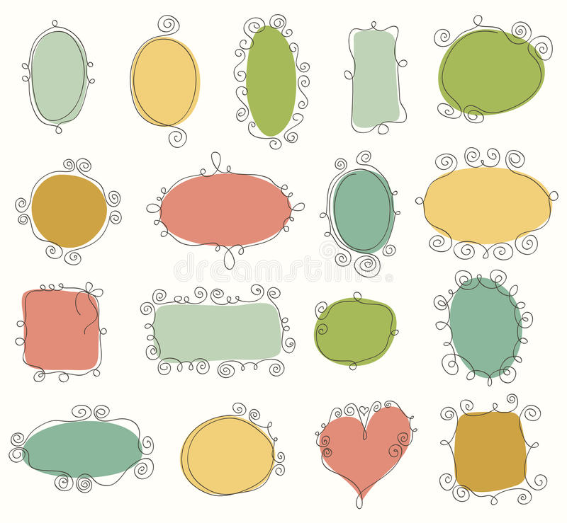 Collection of doodle frames stock illustration
