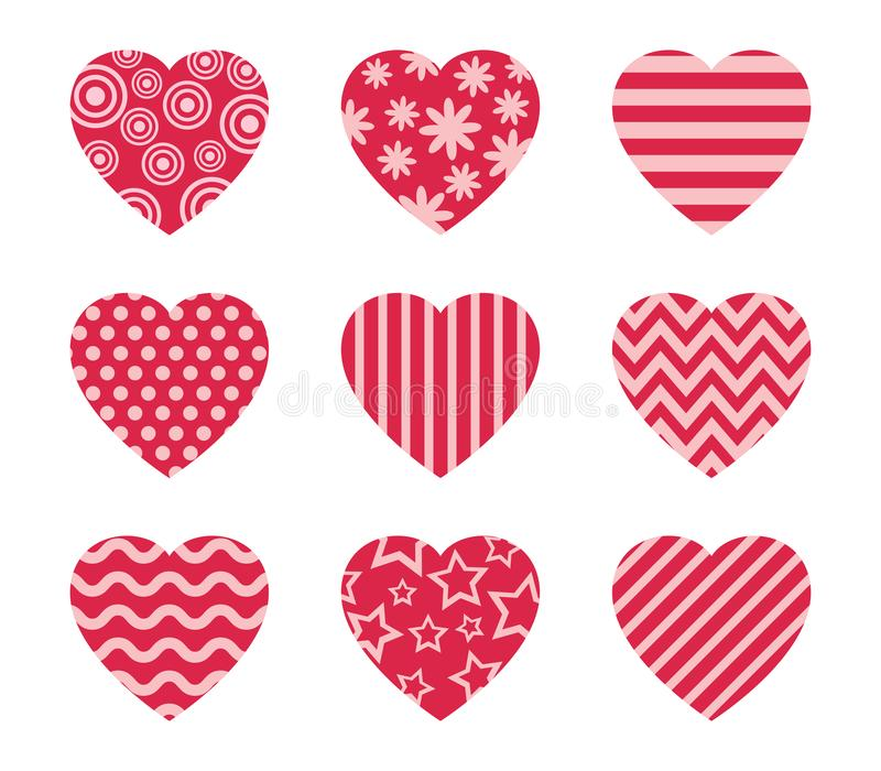 Collection of doodle hearts vector set vector illustration