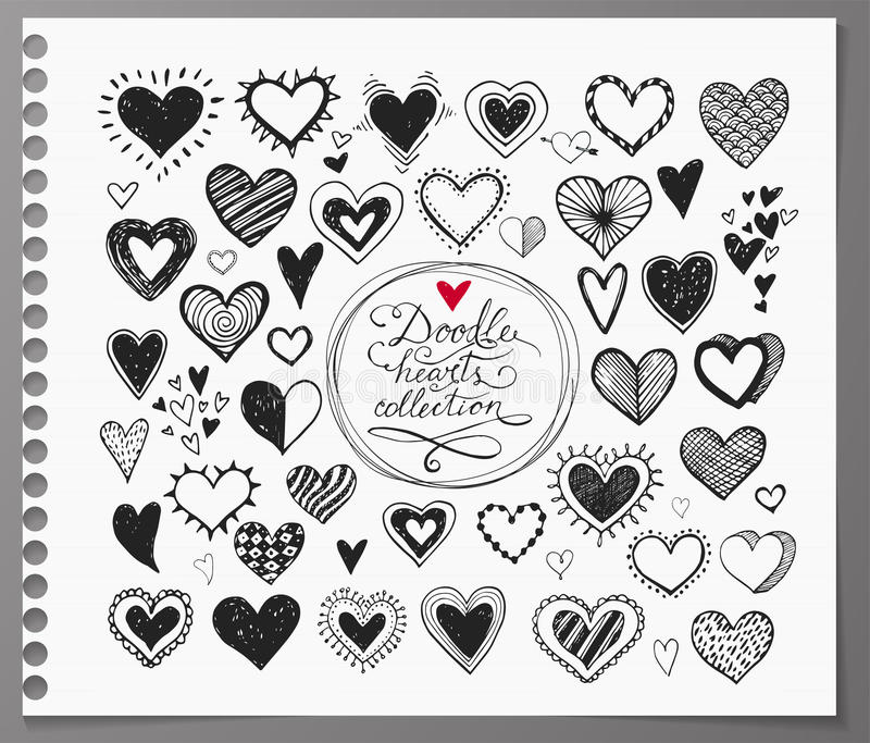 Collection of doodle sketch hearts hand drawn with ink and isolated on realistic lined paper. royalty free illustration