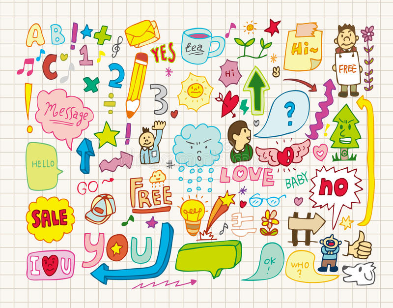 Download Collection of doodles stock vector. Image of cute, drawn - 16804535