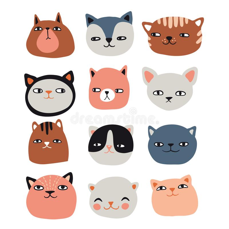 Collection drôle de chats illustration de vecteur