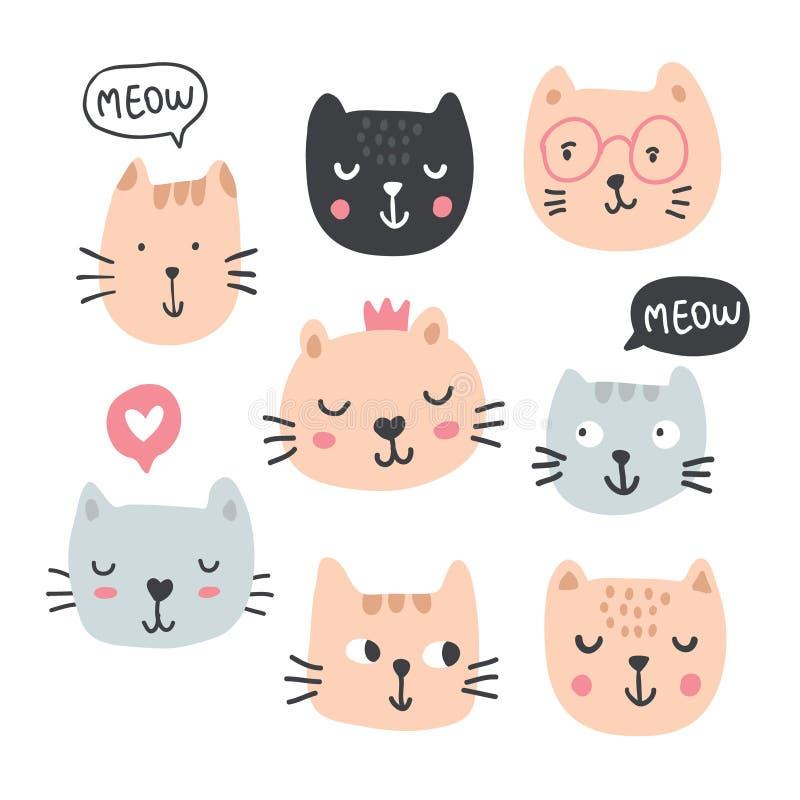 Collection drôle de chats - vecteur illustration de vecteur