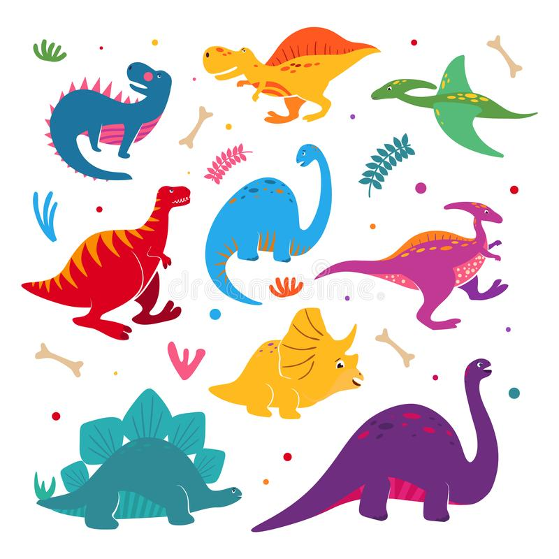 Collection dr?le de dinosaures de bande dessin?e Le vecteur de dinosaure de période jurassique a placé à disposition le style tir illustration libre de droits