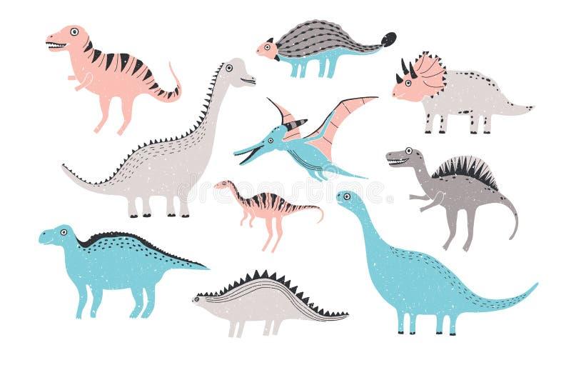 Collection drôle de dinosaures Caractères puérils mignons dans des couleurs en pastel Illustration tirée par la main colorée illustration libre de droits