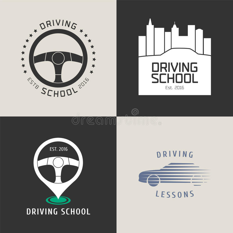 Collection of driving license school vector logo vector illustration