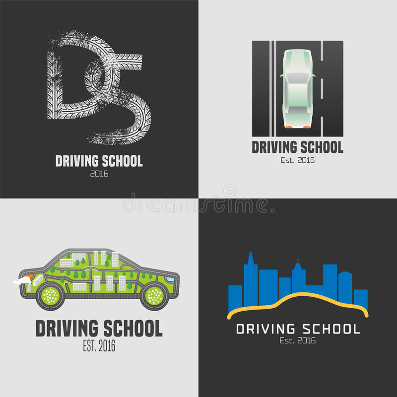 Collection of driving school vector emblems royalty free illustration