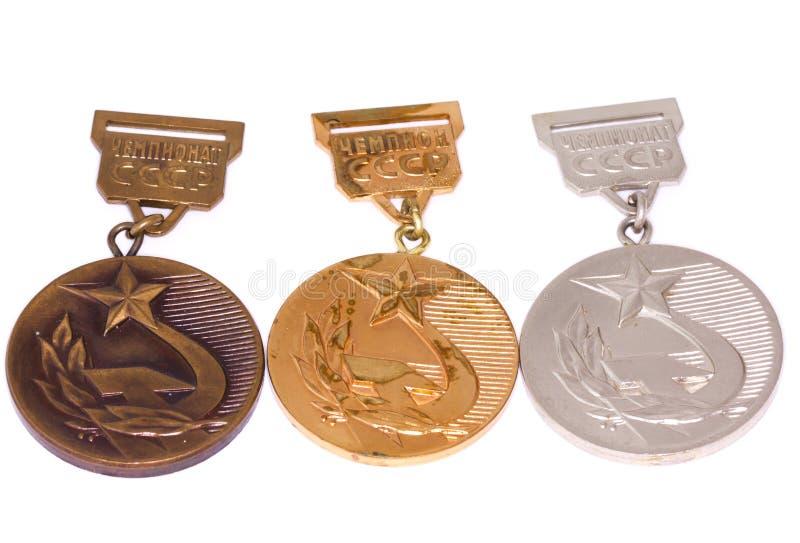 Collection du ` s de médaille de championnat de l'URSS - d'or, argentée et en bronze Kouvola, Finlande 06 09 2016 photo stock