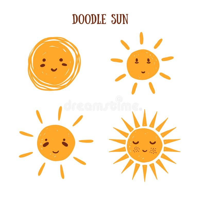 Collection du soleil de griffonnage d'Emoji, signe de sourire d'été, temps beau Symbole de matin de bande dessinée illustration libre de droits