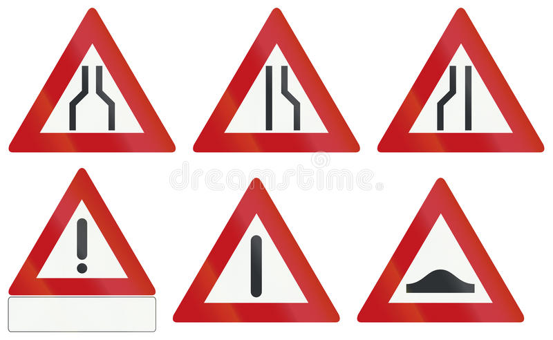 Collection of Dutch warning road signs royalty free illustration