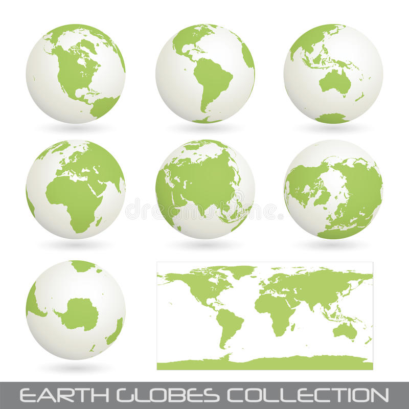 Download Collection Of Earth Glob, White-green Stock Vector - Illustration of graphic, australia: 14786566