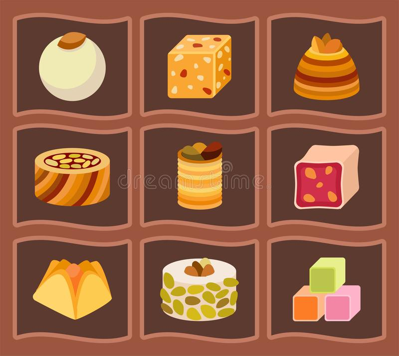 East delicious dessert sweets food eastern confectionery homemade assortment vector illustration cake tasty bakery stock illustration