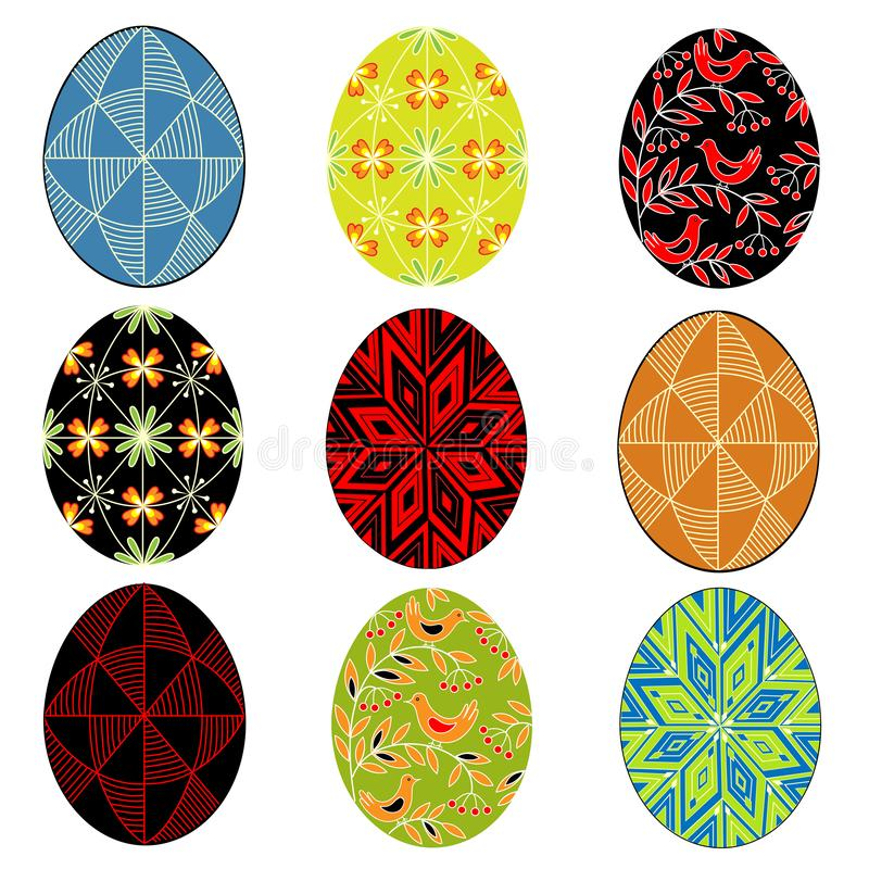 Collection. Easter egg with painted ornament. The symbol of Easter. An ancient tradition of people. Vector illustration set stock illustration