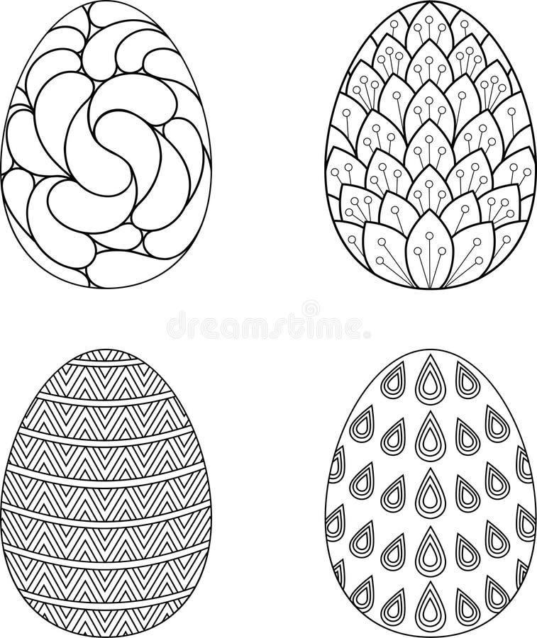 Collection of Easter eggs. Black outline design. Vector illustration vector illustration