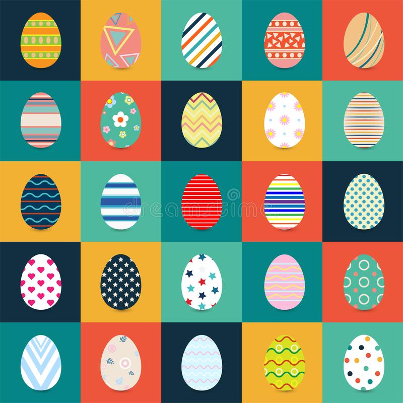 Collection of Easter eggs Flat Design with different texture, pattern on retro pastel background royalty free illustration
