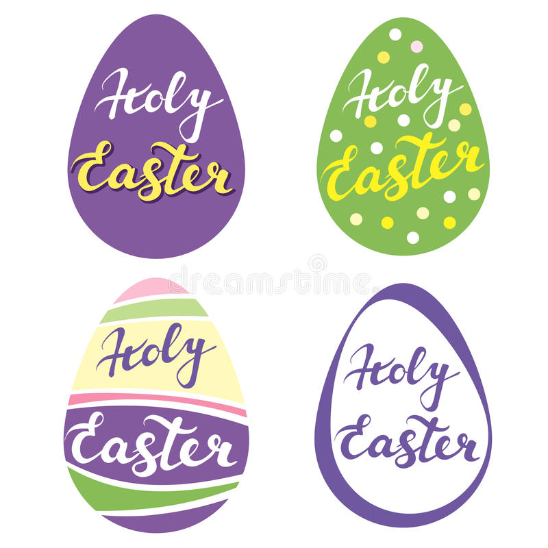 Collection of Easter eggs,r religious symbol of Christianity hand drawn greetings logo vector vector illustration