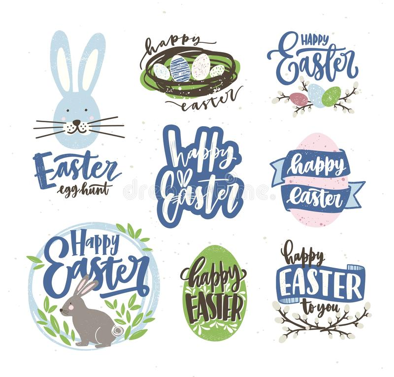 Collection of Easter letterings handwritten with cursive calligraphic font and decorated by eggs, pussy-willow branches. Bunnies. Hand drawn vector royalty free illustration