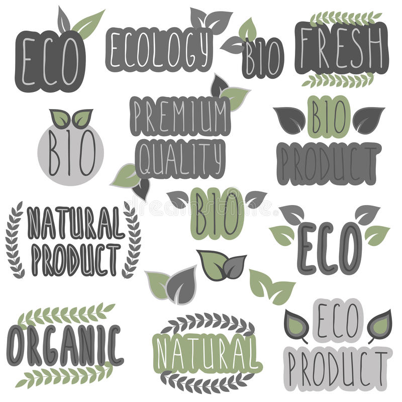 Collection of eco and bio labels, badges. Ecology theme. Vector illustration stock illustration