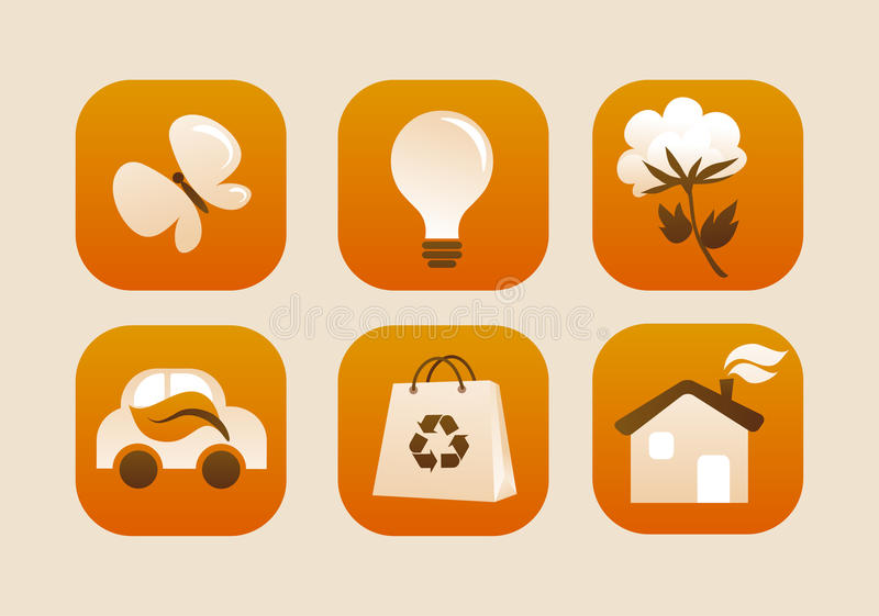 Collection Of Ecological Icons Stock Images