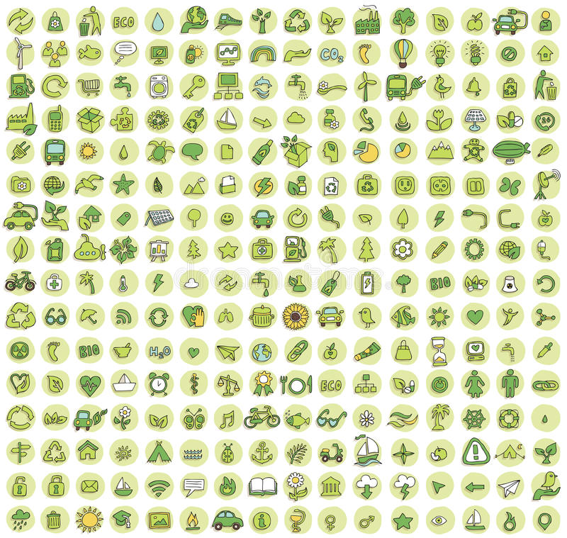 Collection of 256 ecology doodled icons stock illustration
