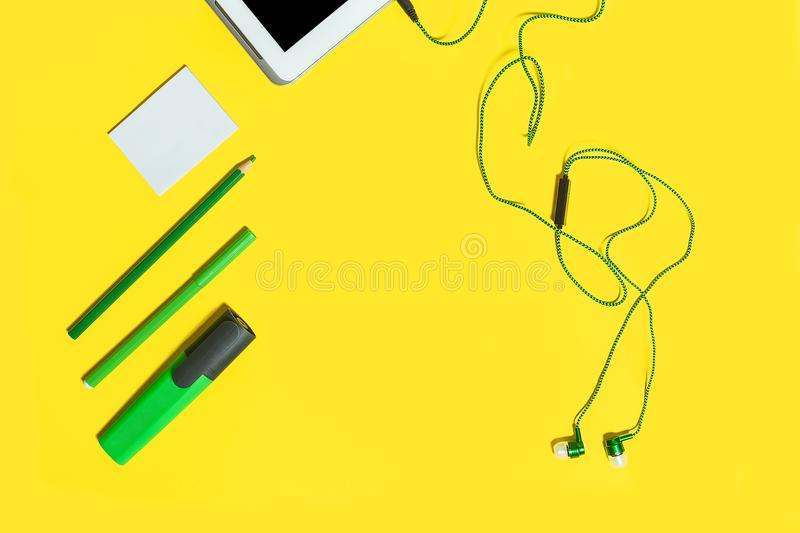 Collection of educational accessories royalty free stock photos