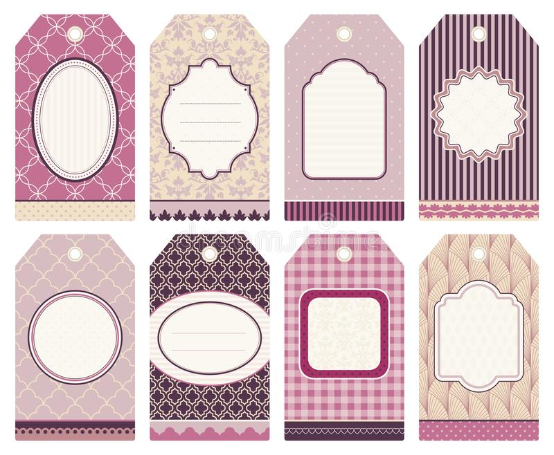 Set Of Eight Christmas Hangtags Pattern Pink Purple Beige vector illustration