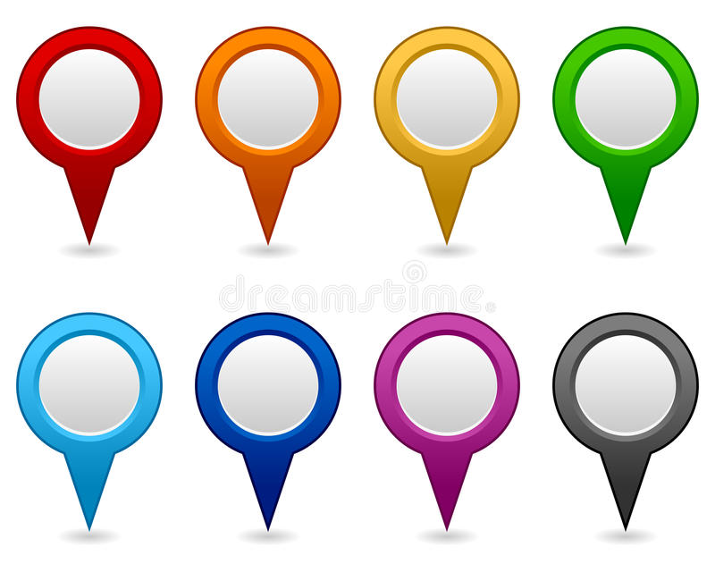 GPS and Navigation Blank Icons. Collection of eight colorful blank GPS navigation and map icons or symbols, on white background. Eps file available