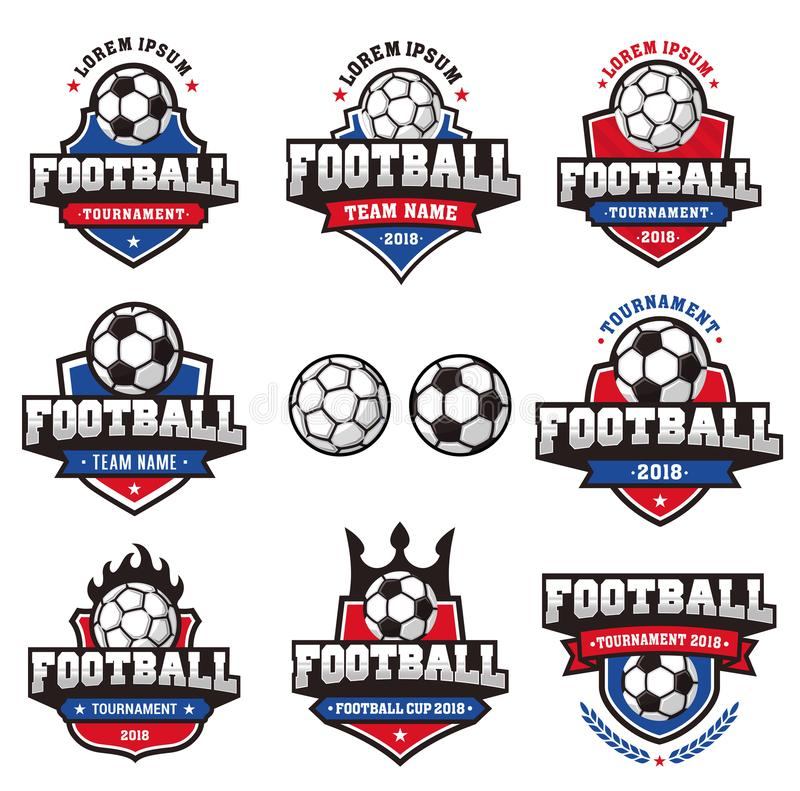 Vector Football Cup Logo. Collection of eight Red and Blue and white Vector football or soccer logo and insignias for 2018 football tournaments or cups stock illustration