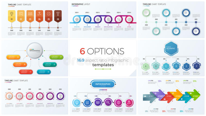 Collection of eight vector templates for infographics with 6 options, steps, processes royalty free illustration