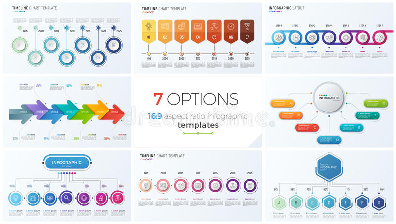 Collection of eight vector templates for infographics with 7 options, steps, processes stock illustration