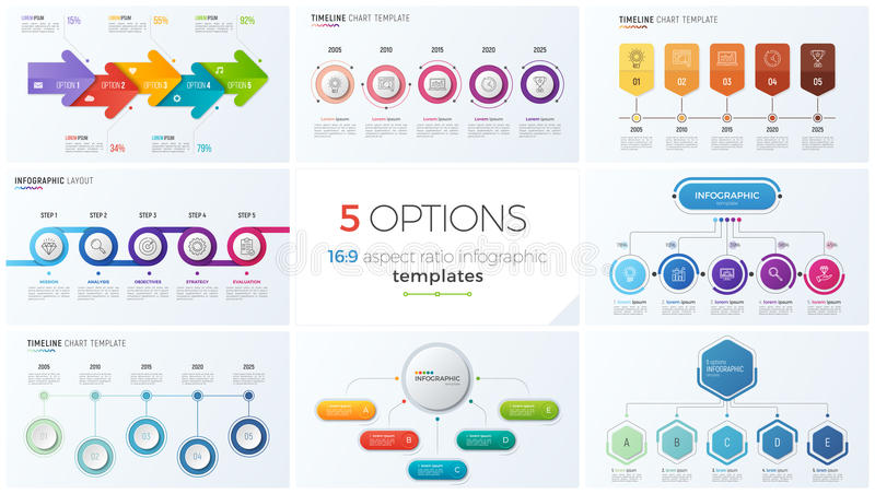 Collection of eight vector templates for infographics with 5 options, steps, processes royalty free illustration