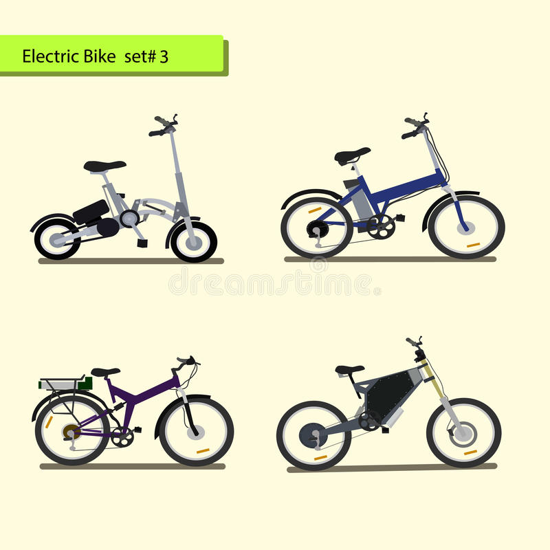 Collection of electric bikes . stock image