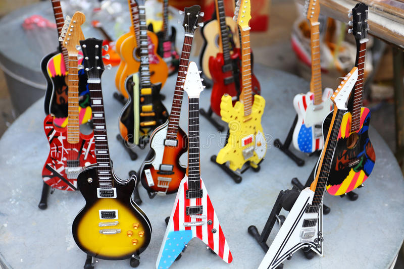 Collection of electric guitars stock images