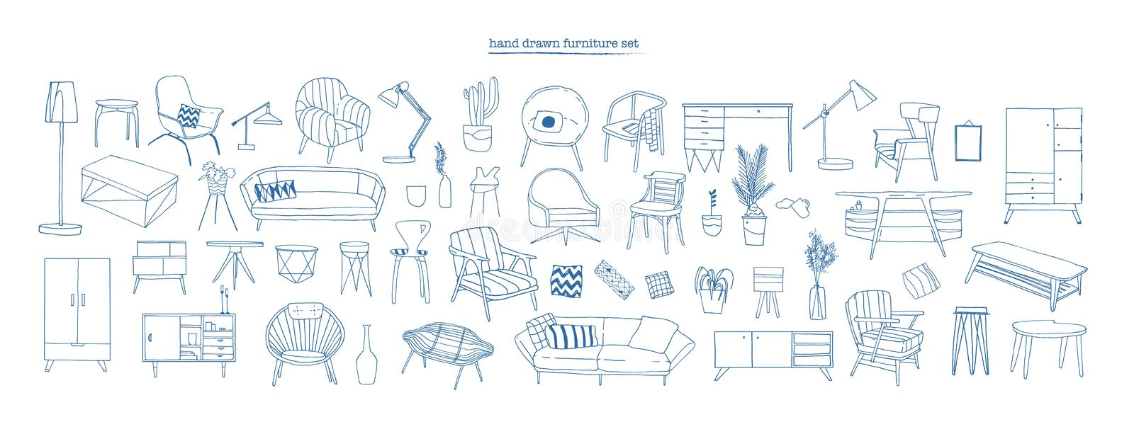 Collection of elegant modern furniture and home interior decorations of trendy Scandinavian or hygge style hand drawn royalty free illustration