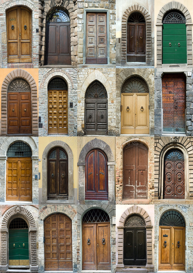 Collection elegant obsolete door Tuscany Italy royalty free stock image