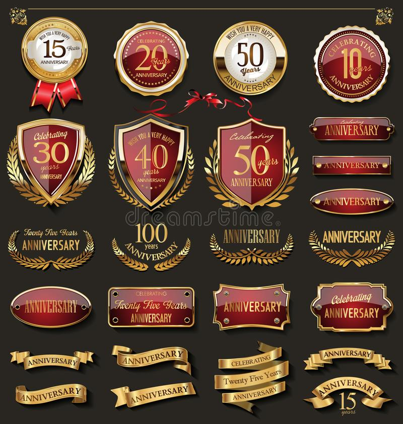 Collection of elegant red and golden anniversary badges and labels design elements. Collection of elegant red and golden badges and labels design vector illustration