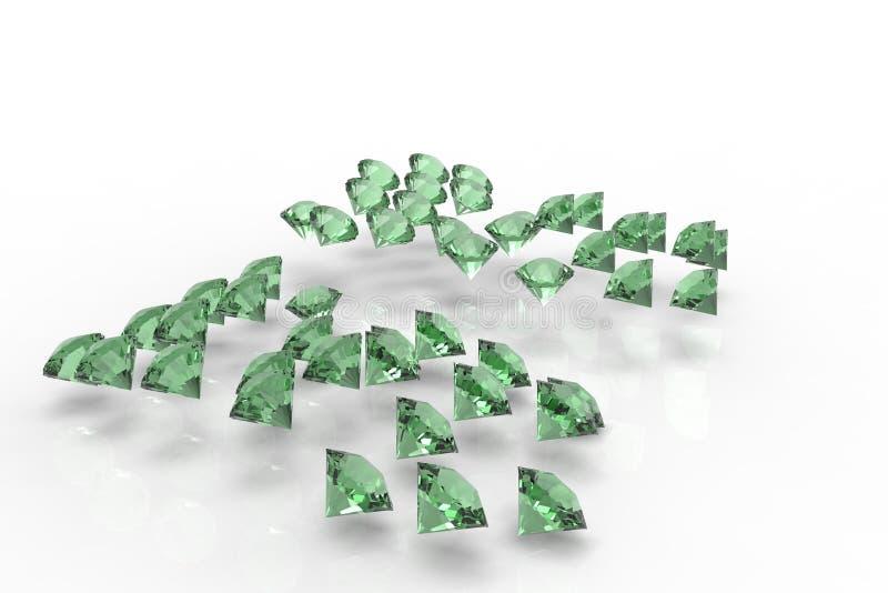 Collection of emerald diamonds. 3D emeralds diamonds render vector illustration