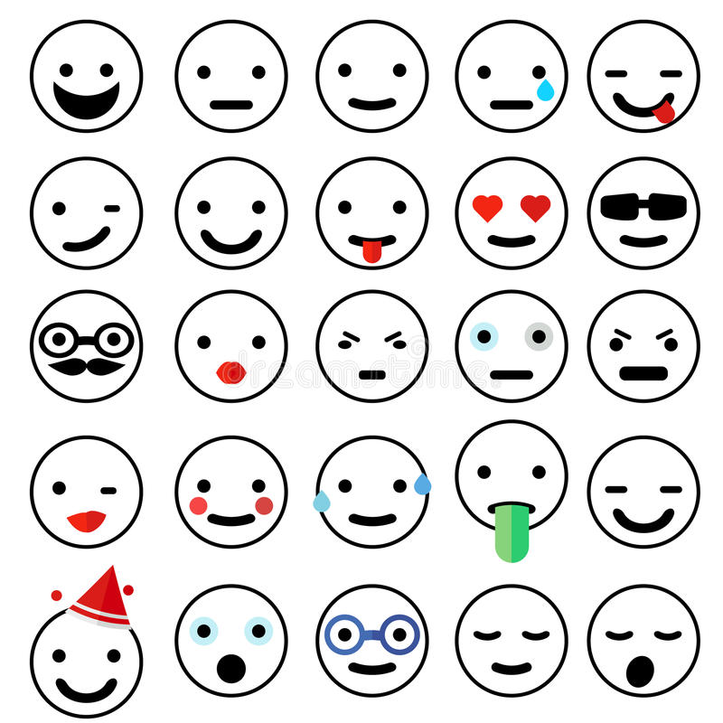 Collection of emoticons stock illustration