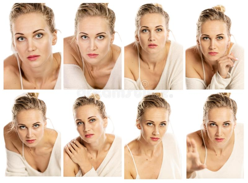 Collection of emotional portraits of a beautiful woman stock photos