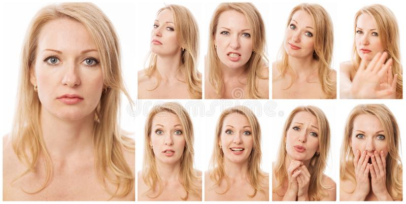 Collection of emotional portraits of a young beautiful woman royalty free stock photos