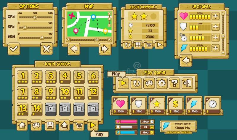 Collection en bois d'interface utilisateurs de jeu illustration de vecteur